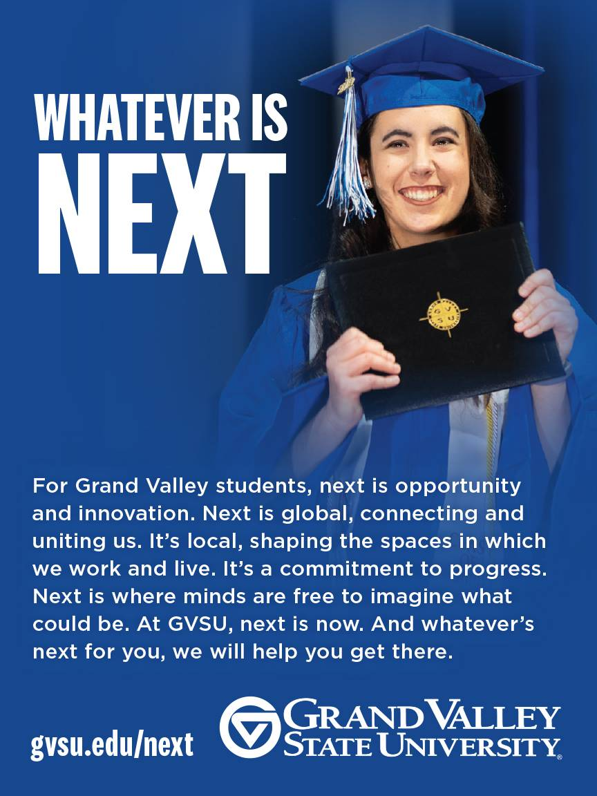 Advertisement example featuring a student holding up a diploma